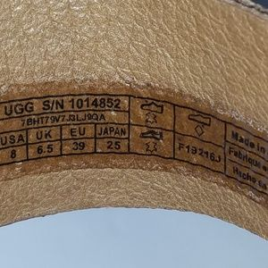 UGG Shoes - UGG wedge Sandals tan with gold trim size 8